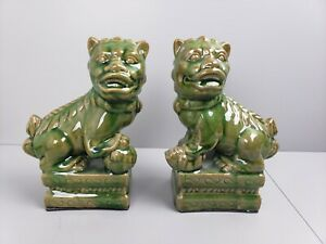 Glossy Green Porcelain Foo Dogs Set Of Two
