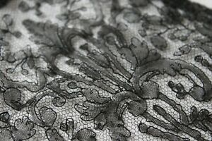 Vtg Antique Handmade French Chantilly Bobbin Lace Lappet Victorian 19th Century