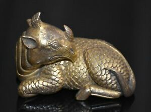 Good Chinese Qing Dy Old Red Copper Gold Plating Carved Unicorn Figure L 8 5 Cm