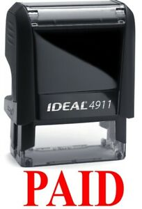 Paid Stamp Text On Ideal 4911 Self inking Rubber Stamp Red Ink