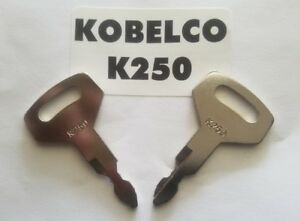 2 Kobelco Excavator Heavy Equipment Keys Oem Logo K250 Fit Case Kawasaki