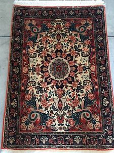 2x3ft Antique Handmade Persian Wool Bijar Oriental Rug