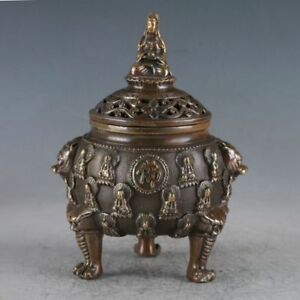 Exquisite Chinese Old Brass Buddha Incense Burner Made Daming Xuande Sign Rn