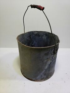 Vintage Metal Bucket Chore Pail Primitive Rustic Flower Planter