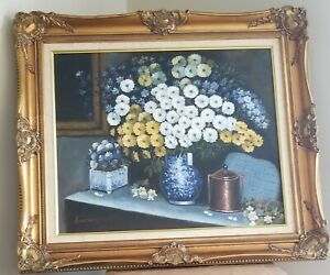 Large Foral Oil Painting With Gold Ornate Frame