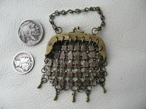 Antique Victorian Brass Chain Mail 4 Drop Chatelaine Bru French Doll Coin Purse