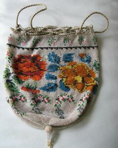 Antique Victorian Crochet Floral French Micro Bead Tassel Reticule Purse Germany