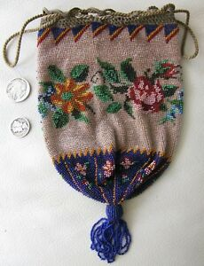 Antique Victorian Crochet Cobalt Floral French Micro Bead Tassel Reticule Purse