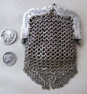 Antique Victorian Sterling Silver Flat Ring Fancy Mesh Chatelaine Coin Purse