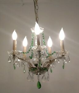 Vintage Chandelier Light Fixture Green Czech Crystal Glass Prisms Maria Theresa