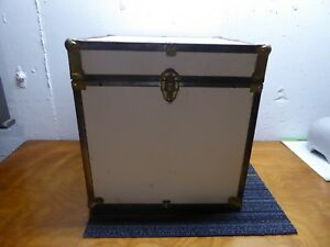Small Storage Trunk Doll Trunk Foot Locker Flight Case Ivory Brass Great Look