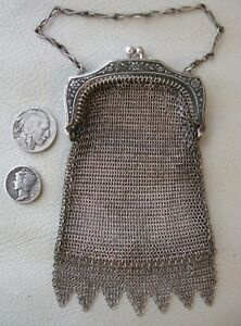 Antique Victorian Silver T Floral Frame Mesh Point Fringe Chatelaine Coin Purse