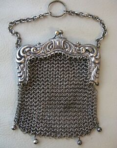 Antique Victorian Silver T Floral Finger Ring Mesh 4 Ball Chatelaine Coin Purse