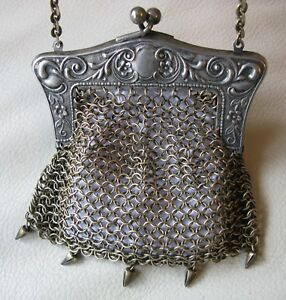 Antique Victorian German Silver Scroll Floral Mesh 5 Drop Chatelaine Coin Purse