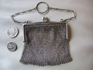 Antique 925 Ba Co Sterling Silver Chain Mail Finger Ring Chatelaine Coin Purse