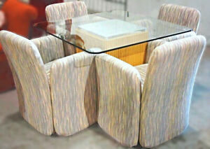 Glass Top Dinette Dining Set Table 4 Chairs Armchairs Mirror Mid Century Modern