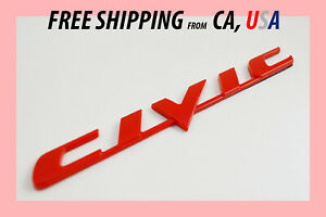 All Red Honda Civic Si Trunk Side Rear Back Emblem Badge Letters Brand New