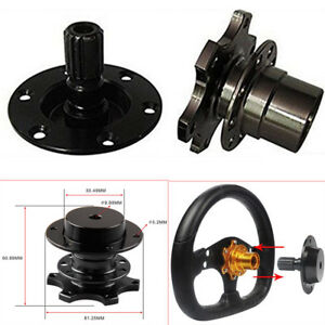 Universal Autos Steering Wheel Quick Release Hub Racing Adapter Snap Off Black