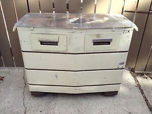 Awesome Vtg Steampunk Industrial Cabinet Island W Drawers Wheels Metal Top Rare