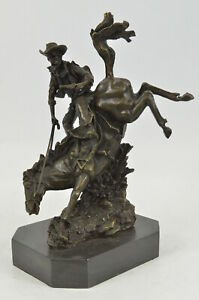 Frederic Remington Style Outlaw Signed Bronze Sculpture Statue Green Marble Base
