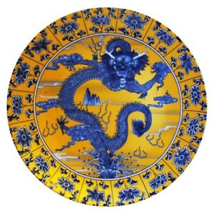 Chinese 8 Porcelain Dragon Plate With Genuine Gold Dust Background