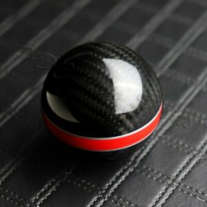 Real Carbon Fiber Ball Manual Mt Gear Shift Shifter Knob W Red Stripe Universal