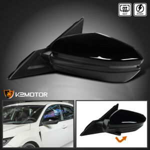 For 16 18 Civic Glossy Black Power Heated 7 pin Left Side Mirror W Led Signal