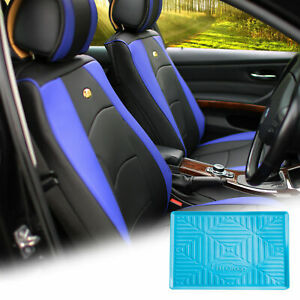 Pu Leather Seat Cushion Covers Front Bucket Blue W Blue Dash Mat For Car