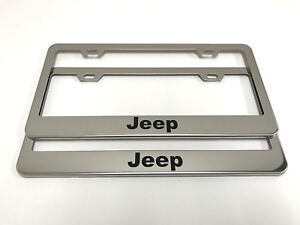 2 Stainless Steel Chrome Polished Metal License Plate Frame Jeep