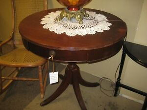 Antique Mahogany Drum Table Vintage Room Ready Condition