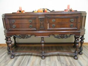 Antique Dining Buffet Sideboard Cabinet Server Walnut Guc