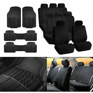 3 Row Suv Van Black Seat Covers 8 Seaters With Black Floor Mats Toyota Ford Gmc