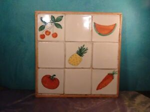 Vintage Mexican Tiled Tray Cutting Board Fruits And Veggies