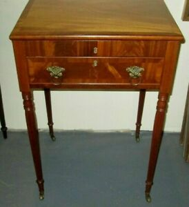Antique American Federal Work Table W Fine Delicate Legs Lift Top Writing Desk