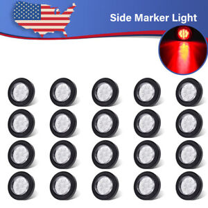 20 Round 2 Led Side Fender Marker Light Trailer 9led W grommet Clear Lens Amber