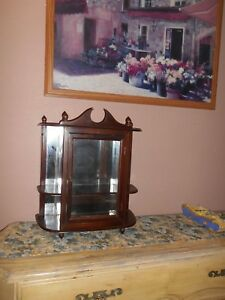 Antique Wood Mirror And Glass Wall Display Cabinet