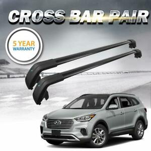 For Hyundai Santa Fe 13 18 Roof Rack Black Baggage Luggage Cross Bar Crossbar Us