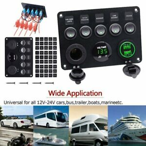 Car Boat Marine Rv Truck 5 Gang On Off Toggle Switch Panel Green Voltmeter 2 Usb
