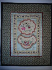 Vintage Chinese Silk Embroidery Panel Peking China 12 5 X10 Lady