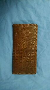 Oil Field Alligator Print Leather Pipe Tally Book Cover 8 75 X 4 S