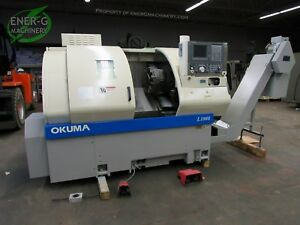 Okuma Cnc Lathe Year 2000 Crown L1060 7625 W Henning Chip Conveyor Id L 053