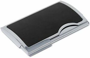 Slim Genuine Smooth Black Leather Business Card Holder