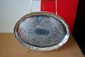 Large Serving Platter English Etched Floral Leaf Pattern The Sheffield Silver