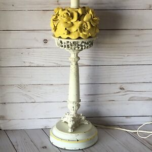 Vintage Shabby Chic Metal Table Lamp Toleware Floral Yellow Flowers Antique