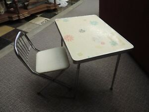 Retro Vintage Chrome 1970 S Child Size Formica Top Folding Table And Chair