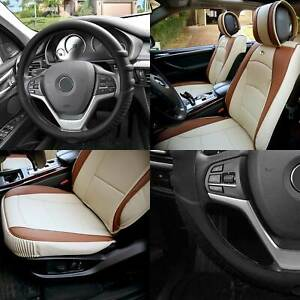 Leather Seat Cushion Bucket Covers Pair Beige W Black Steering Cover For Auto