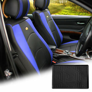 Pu Leather Seat Cushion Covers Front Bucket Blue W Dash Mat For Auto
