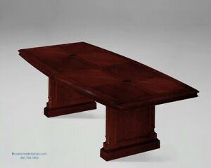 8 Foot Traditional Cherry And Walnut Wood Conference Table With Grommets
