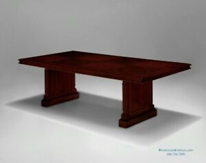 8 Foot Traditional Cherry And Walnut Wood Conference Table 1 Piece Smooth Top