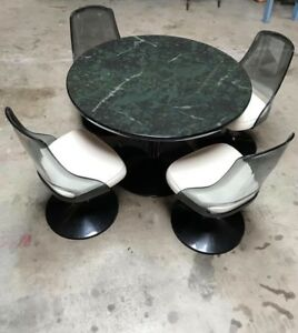 Mid Century Modern Table And 4 Swivel Chairs